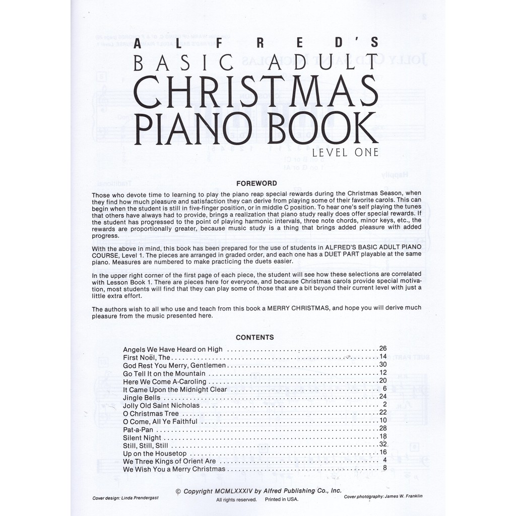 Alfred S Basic Adult Piano Course Christmas Piano Book 1 Shopee Singapore