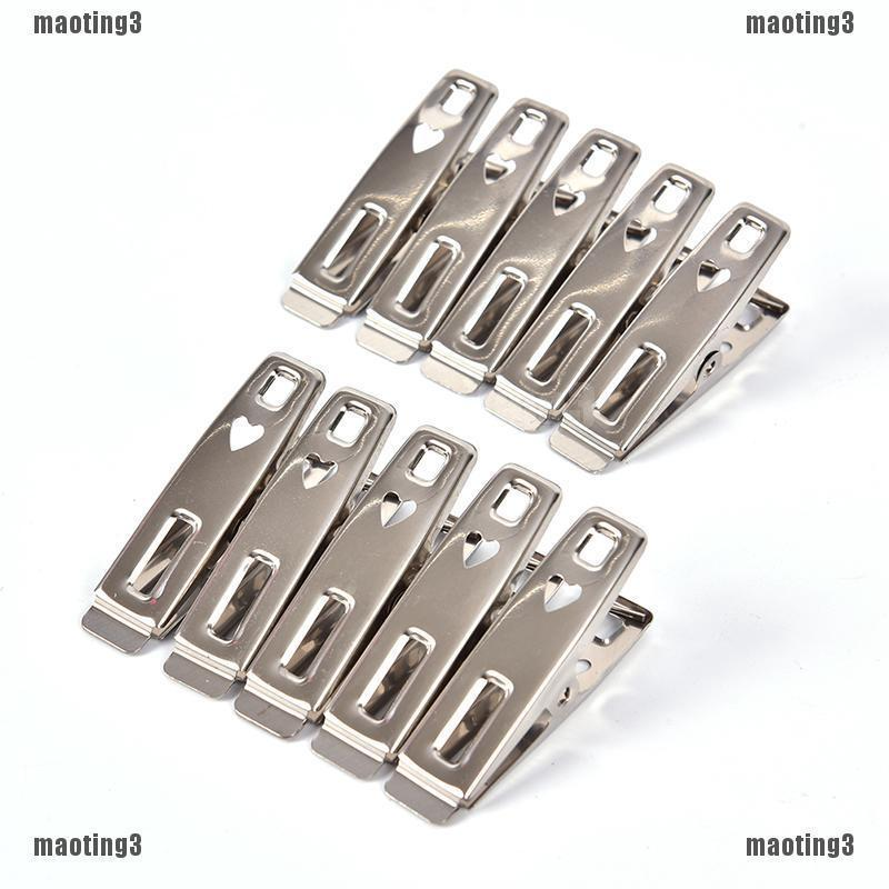 {MT3}20Pcs Stainless Steel Clothes Pegs Hanging Pins Clips Laundry Metal  Clamps