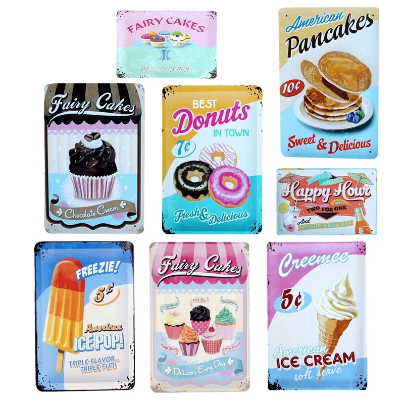 Iced Coffee Poster Metal Tin Signs Retro Plate Desserts Shop Cafe Decor Plaque