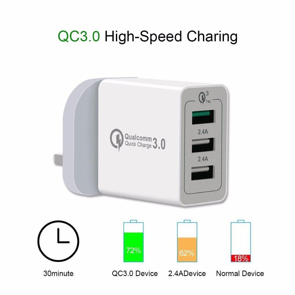 3 Ports Quick Charge QC 3 0 USB Hub Wall Charger Portable 30W Adapter UK  Plug
