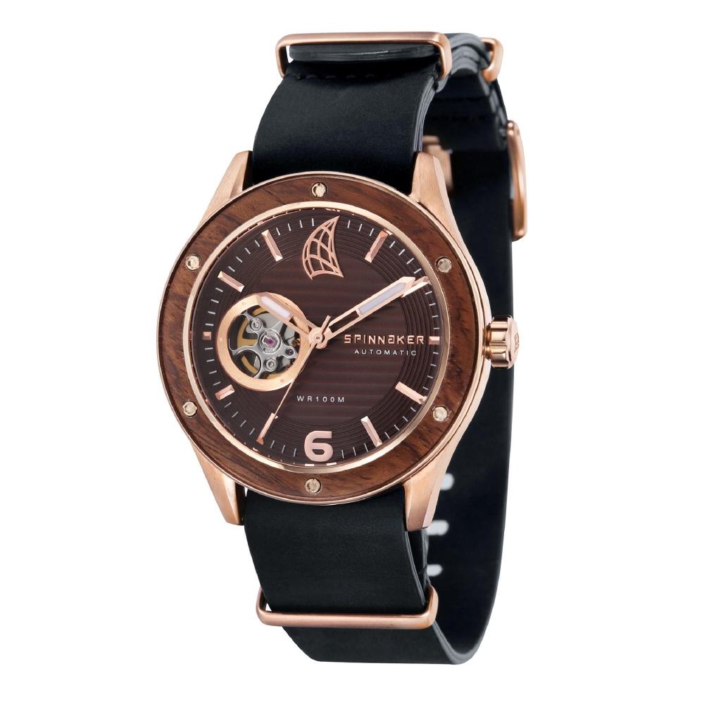 801de52abb9 Spinnaker SORRENTO SP-5034-08 Men s Black Genuine Leather Nato Strap Watch