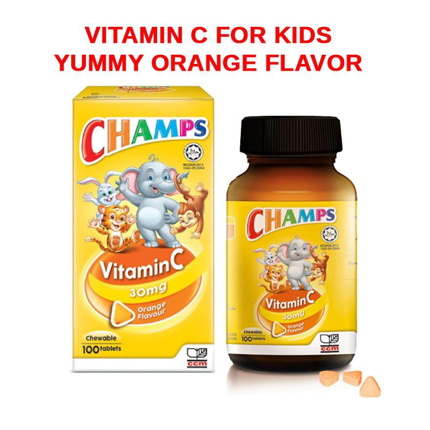 Champs Vitamin C Orange (30mg x 100s Chewable Tablet) 2 Bottles
