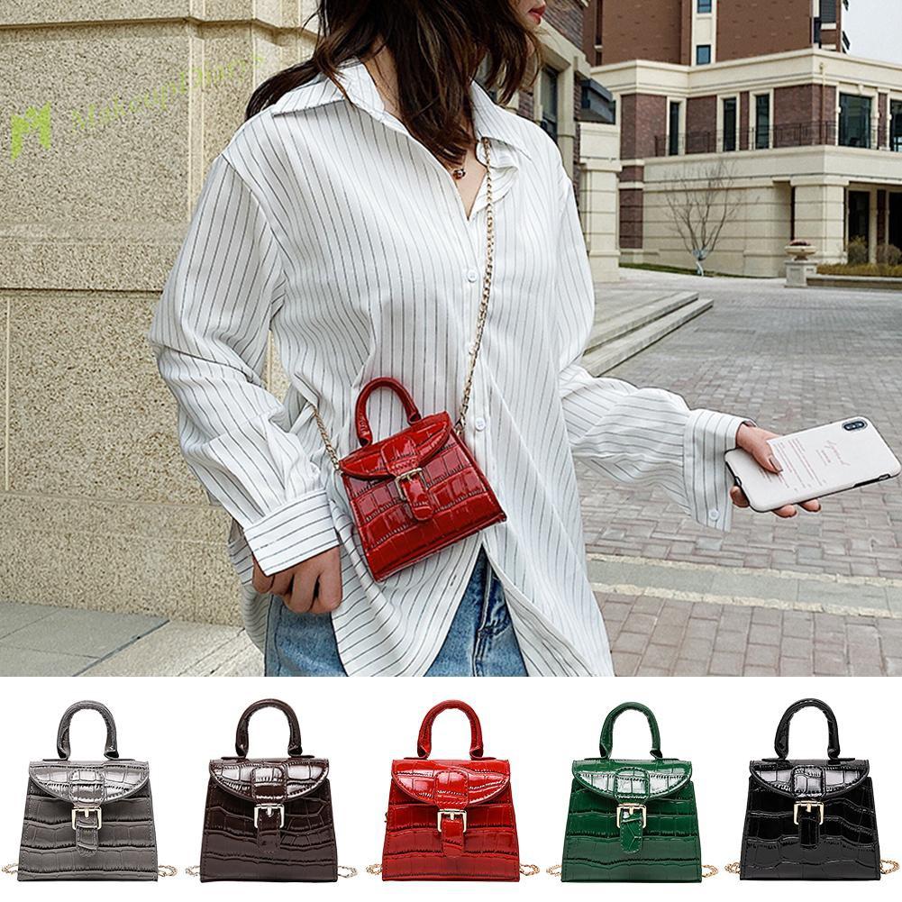Elegant Leather Mini Shoulder Bags Women Pure Color Chain Messenger Handbag