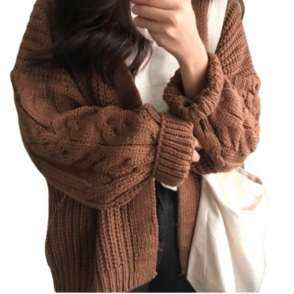 Chic Korean Loose Long sleeved Heather Knit Sweater Cardigan