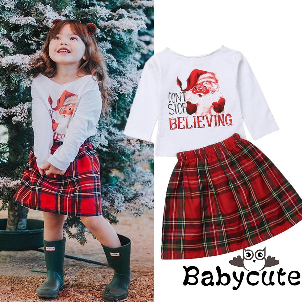 """Toddler Baby Girls /""""NEW YEAR/"""" T-shirt Tops+Short Skirts Dress Outfits Clothes"""