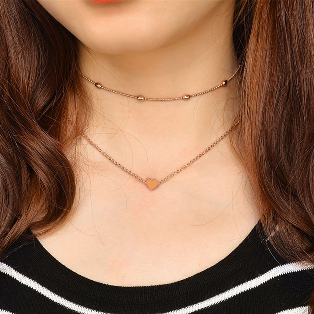 790f7f1abe651 Heart Love Double Layer Choker Necklace Beads Chain Women Charming Jewelry  Gift