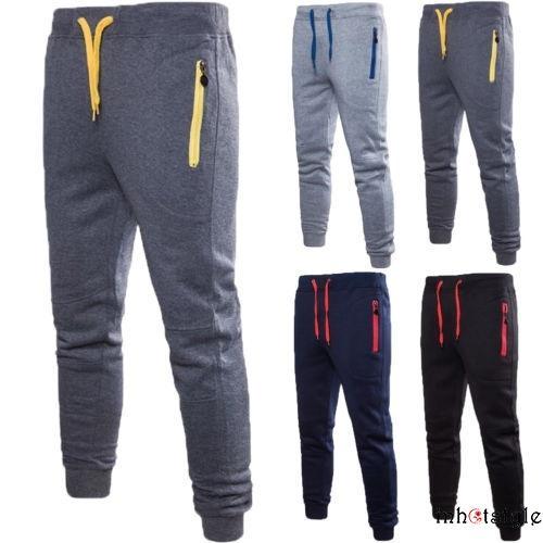 Mens Bottoms Joggers Jog Pants Tracksuit Jog Bottom Fleece ZIP POCKETS S-XXL