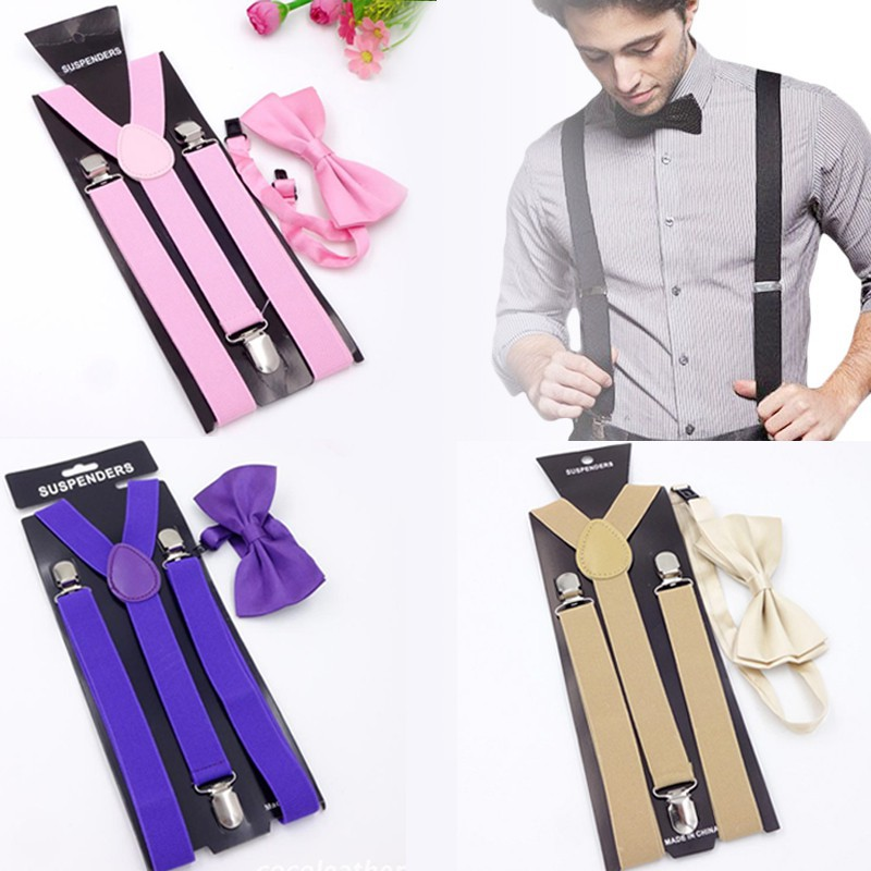 2019 Women Men Fitness Elastic Suspenders Black Adjustable Clip-on Multi-color