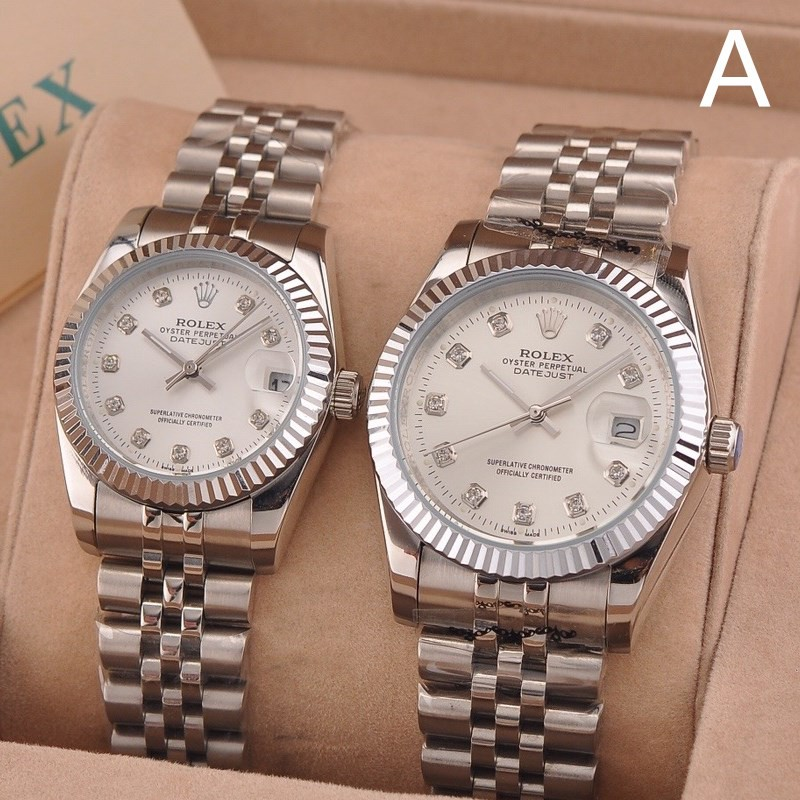 34b1939776 ROLEX Couple Watches Lover's Clock Waterproof Stainless Steel Business  Watches | Shopee Singapore
