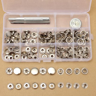 30 Sets 15mm Silver Snap Fasteners Popper Press Stud Button