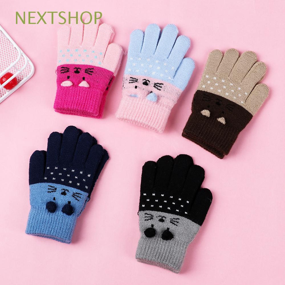 Toddler Kids Cute Knitted Mittens Winter Warm Magic Stretch gloves Thermal Mitts for Infants Unisex Full Finger Ski Gloves for baby Boy Girl 1-4 Years Old