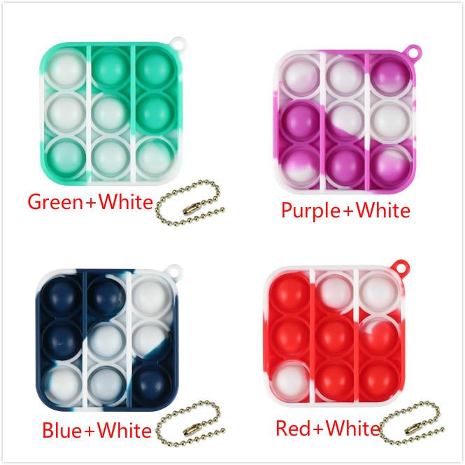 Qipin Mini Push Pop It Fidget Set Stress Reliever Keychain Keyring Pendant Finger Bubble Toys Accessories