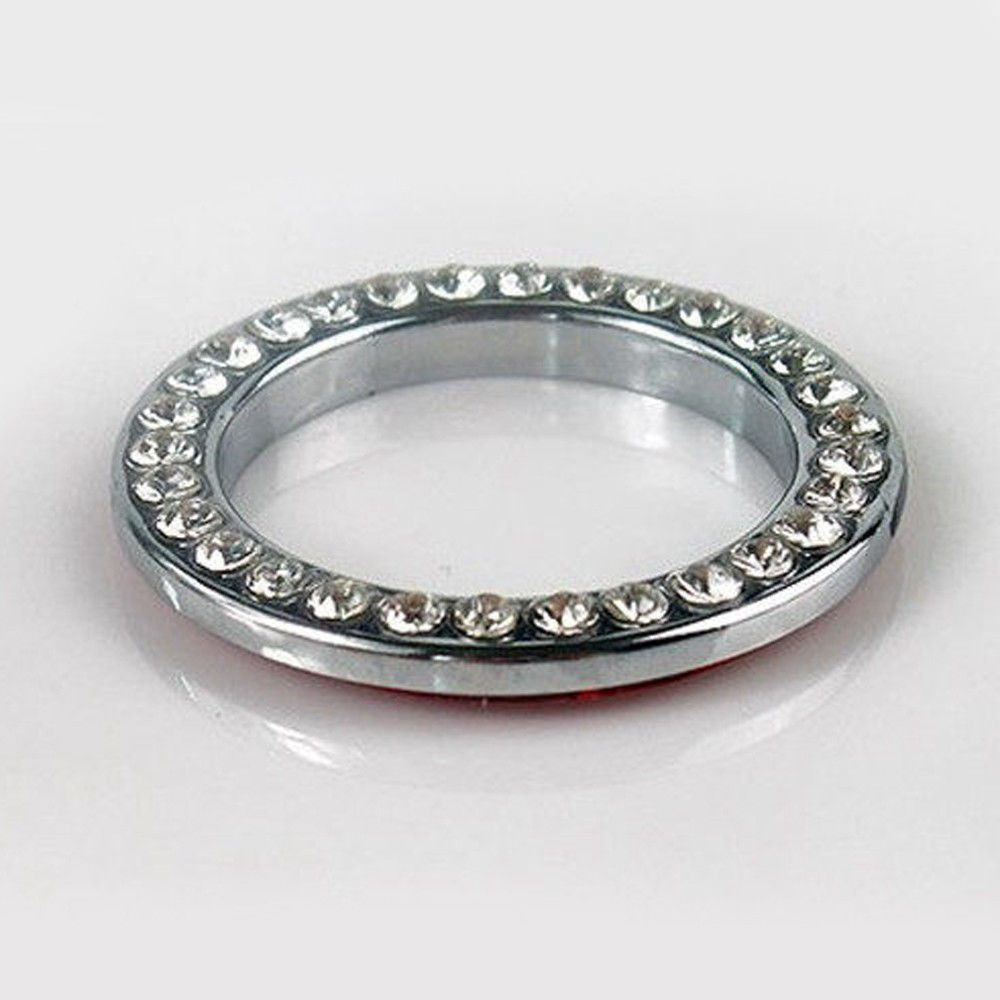 For Car SUV Bling Decorative Accessories Button Start Switch Silver Diamond Ring