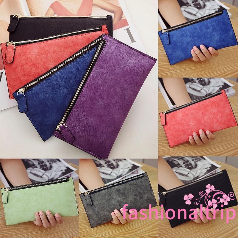 Women Men PU Leather Zipper Clutch Purse Coin Bag Card Holder License Wallet FY