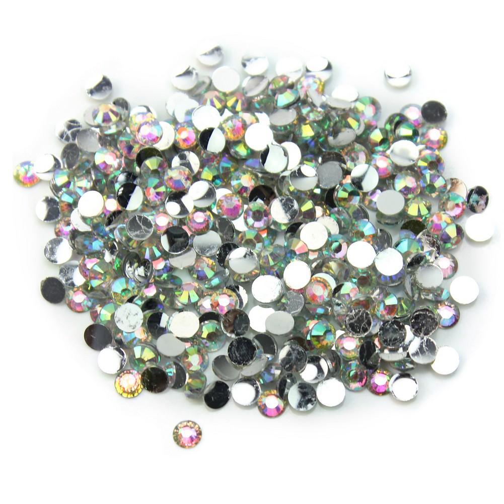 1000 Pcs Set 3mm Flatback Crystal AB 14 Facets Resin Round Rhinestone Beads DIY