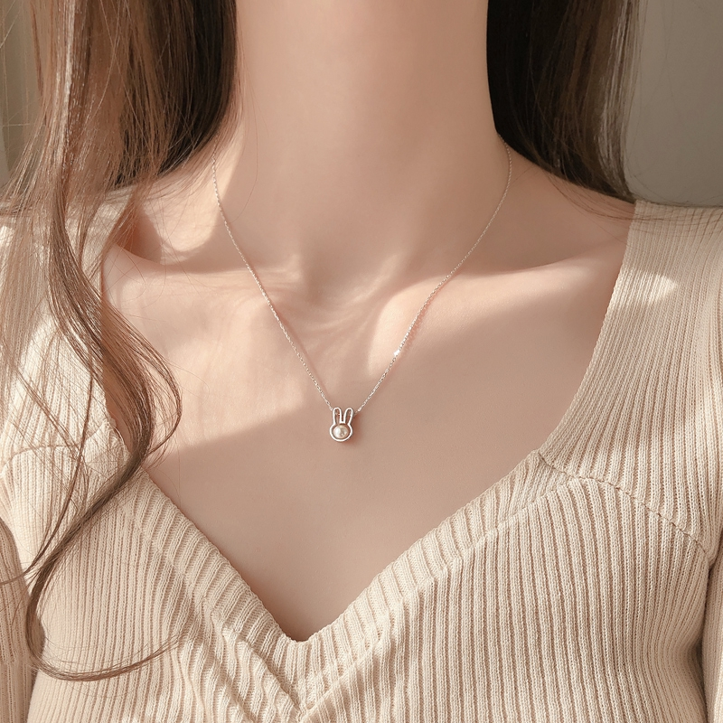 Cute Simple Pearl Rabbit Necklace Silver Girlfriend Gift Shopee Singapore