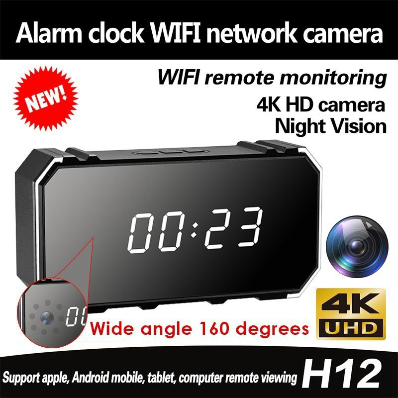 Wifi 720P HD 160° Mini DVR Spy Hidden Camera Clock Night Vision Detection Motion