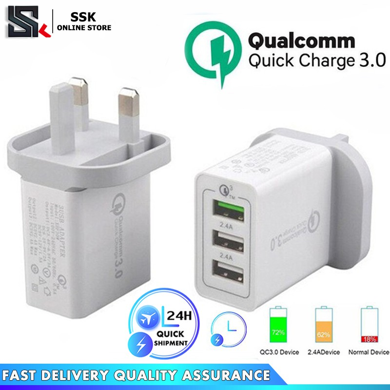 Quick Charge QC 3 0 30W 3-Port USB Wall Fast Charger Adapter For Compatible  with IPhone Samsung HUAWEI OPPO Apple