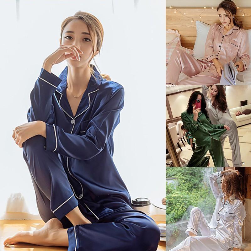 3b449b3f88 Women Sexy Lace Silk Satin Pajamas Set Lingerie Sleepwear Nightdress Pajama  Suit