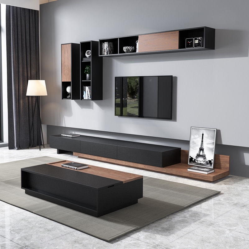 Simple Modern Telescopic Tv Cabinet Small Family Nordic Solid Wood Tv Cabinet Tea Table Combination Wall Cabinet Hanging Cabinet Tv Wall Shopee Singapore
