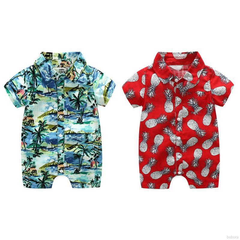 BOBORA Baby Boy Beachwear Hawaii Style Clothes One-Piece Short Sleeve Button-Down Rompers Bodysuit Playsuit