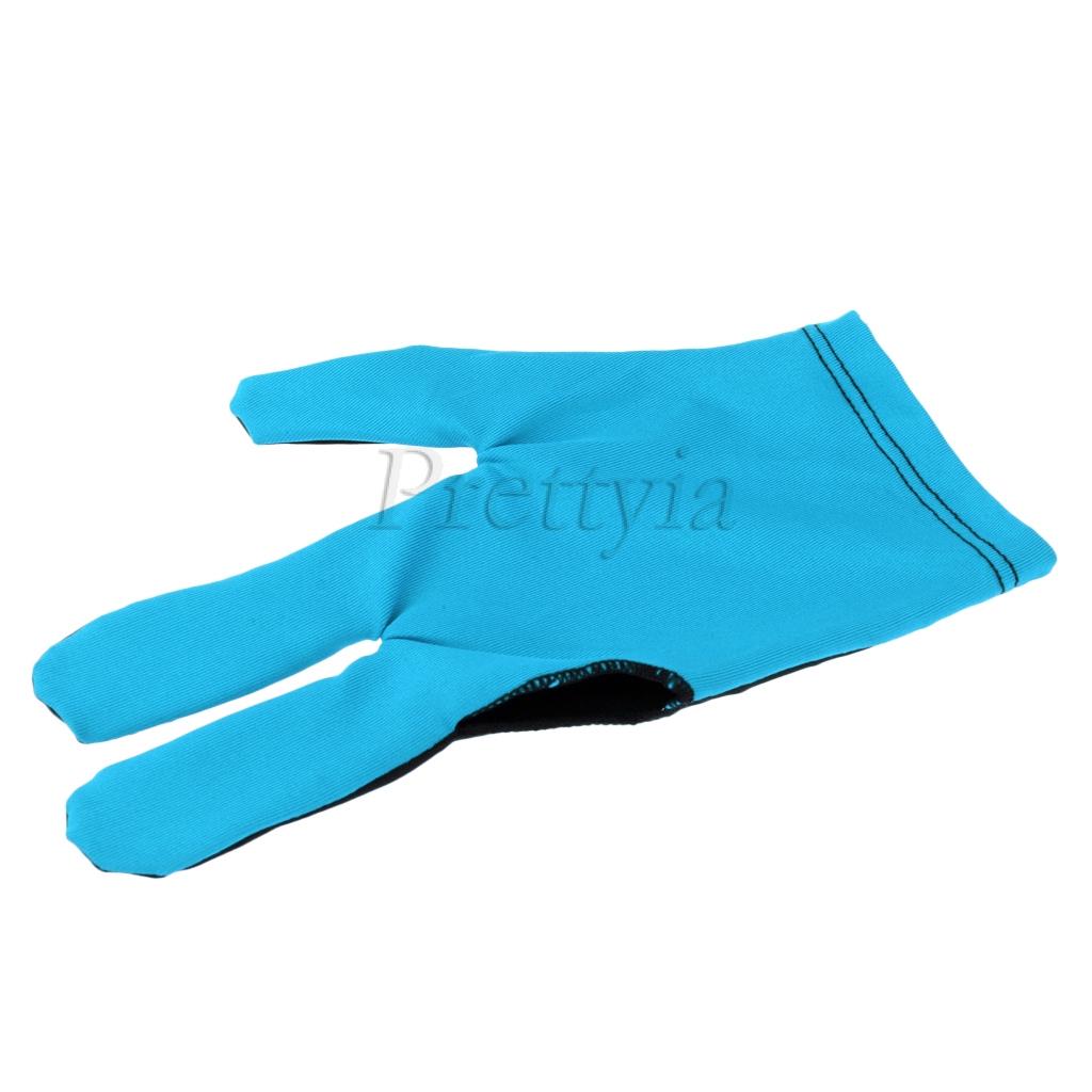 prettyia Snooker Billiard Pool Cue Glove 3 Finger Left Hand Accessories Blue