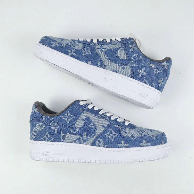 Nike Air Force 1 Supreme x LV Denim Custom  0507bc5a3