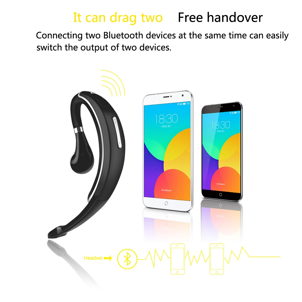 Ear-Mounted Car Single-Ear Wireless Business Bluetooth Headset Driving Call  Headset For IPhone Samsung Huawei HTC, Etc