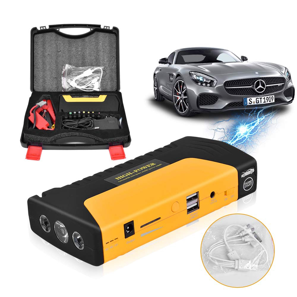 Portable Car Jump Starter 16800mah Emergency Battery Booster Pack With Three Head Usb Charging Outputs Car Charger Shopee Singapore