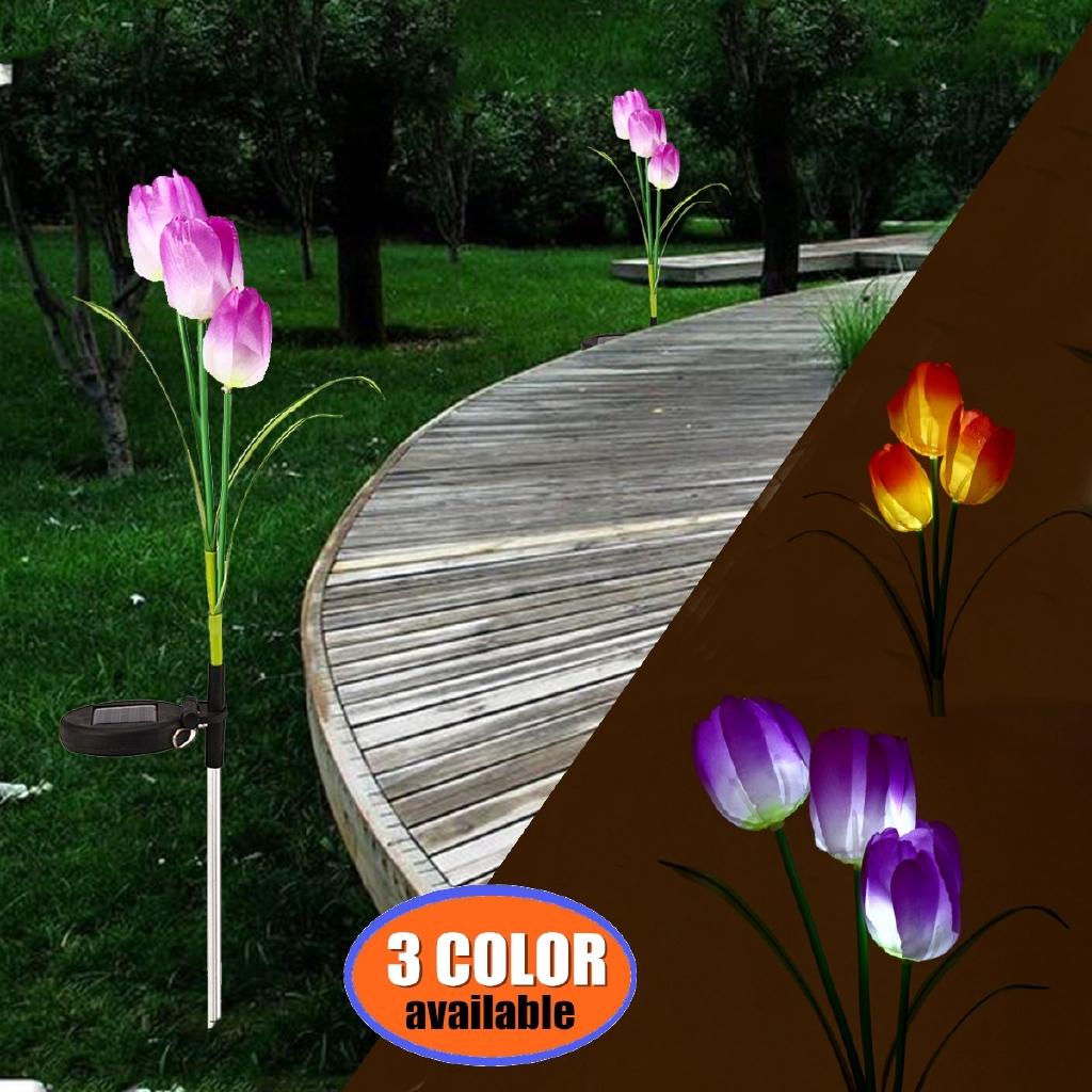 3X Solar Power Flower Lamp Landscape Rose LED Lights Decorate Home Courtyard
