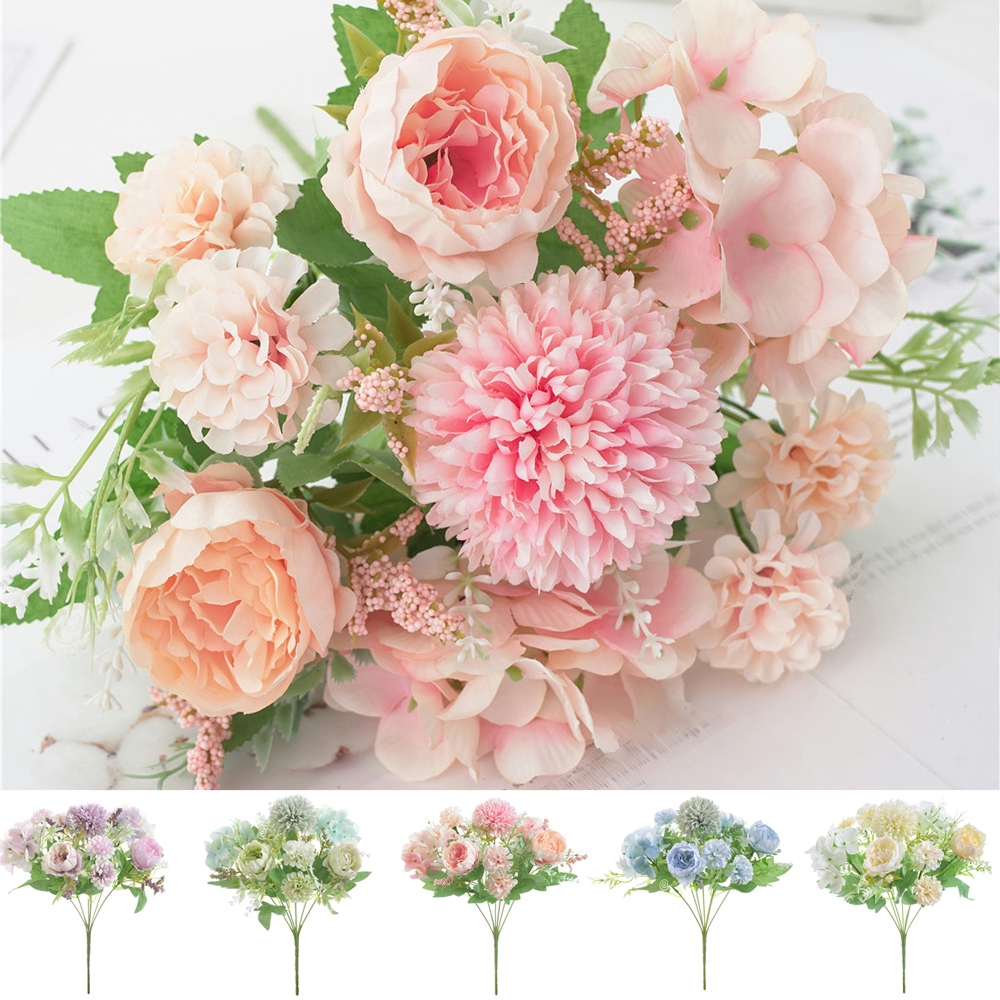 Artificial Fake Flowers Bouquet Wedding Home Decors Shopee Singapore