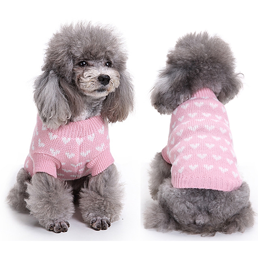 New Pet Dogs Knitting Wool Tops Clothes Puppy Love Heart Sweater Coat  Apparel  0ccfa372325c