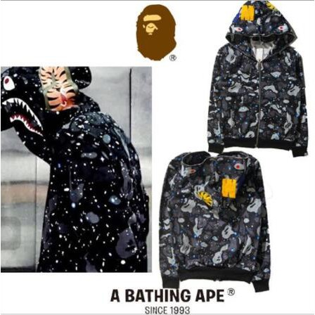 BAPE A BATHING APE Hoodie Sweater Coat Men/'s Shark Head Skull Full Zip Jacket