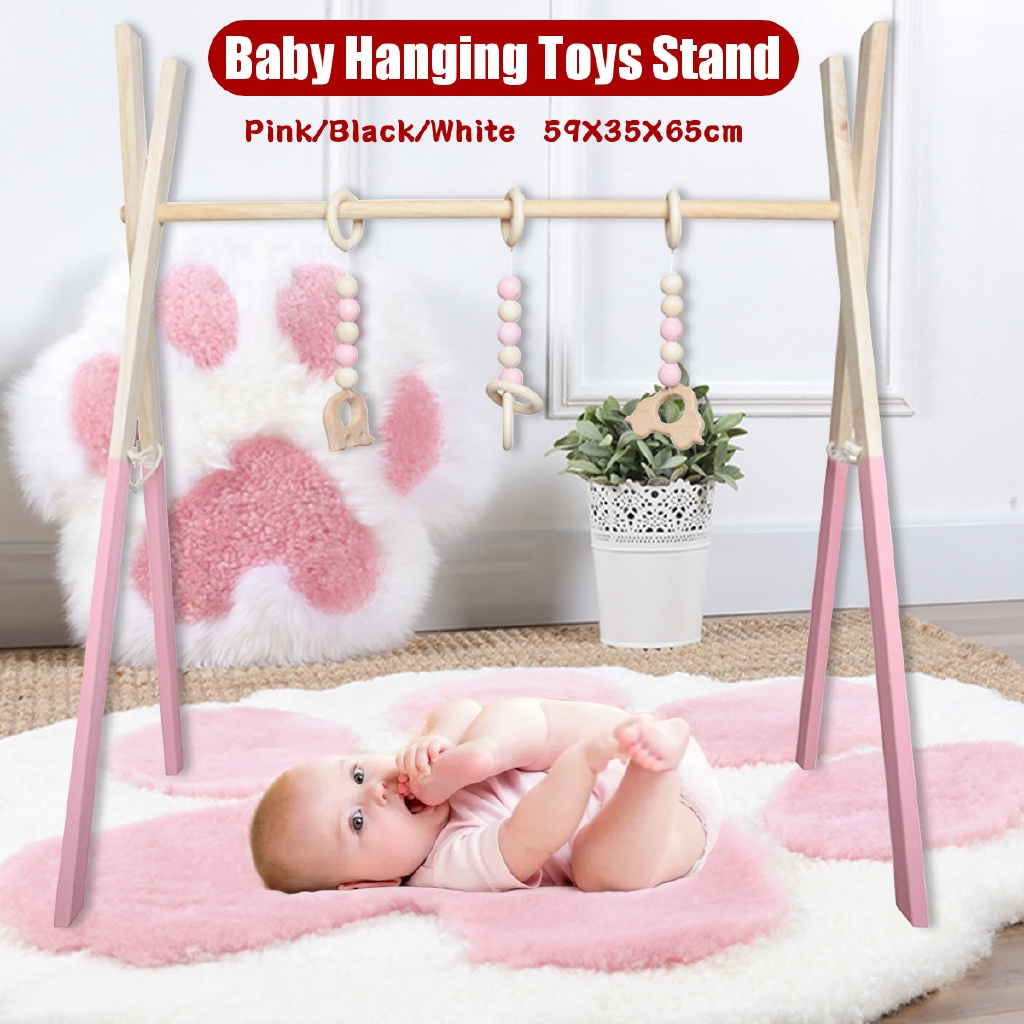 Baby Play Wooden Stand Nursery Fun Hanging Toys Mobile Wood Rack Activity kids