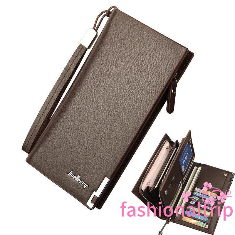 NEW Men/'s Long Leather ID Card Holder Zip Wallet Purse Clutch Checkbook Billfold
