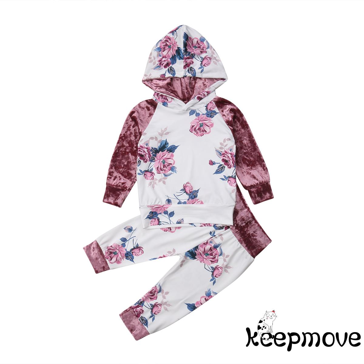 2pcs Set Baby Girls Kids Baby Velvet Hoodie Clothes T Shirt Top Pants Tracksuit Outfit Set 1 6years Shopee Singapore