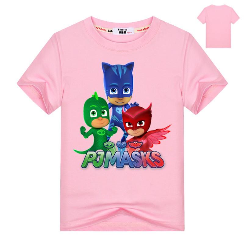 PJ Masks Short Sleeve T-Shirt Pink Stripes
