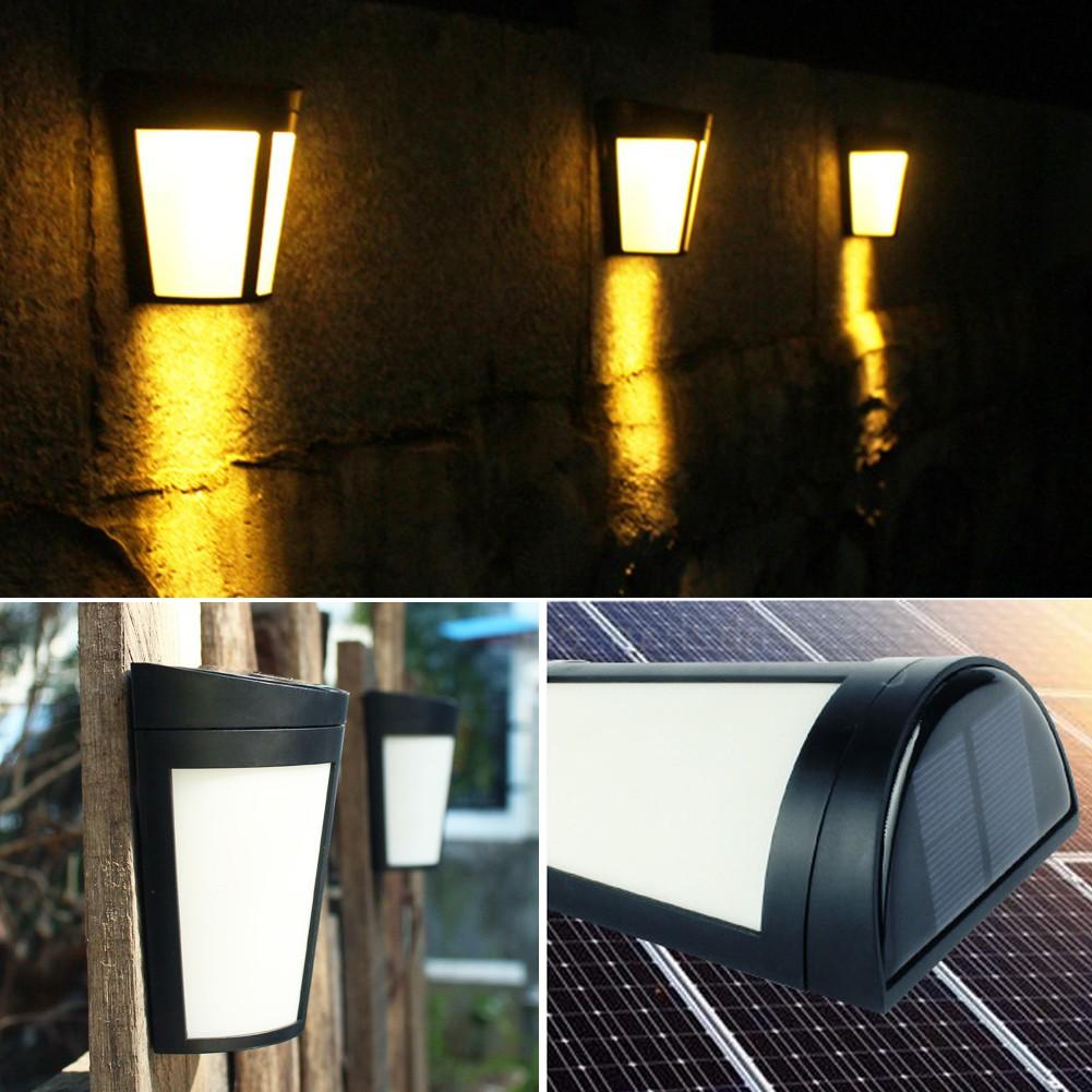 Warm White 6 Led Solar Powered Light Sensor Wall Light Garden Fence Lamp Shopee Singapore