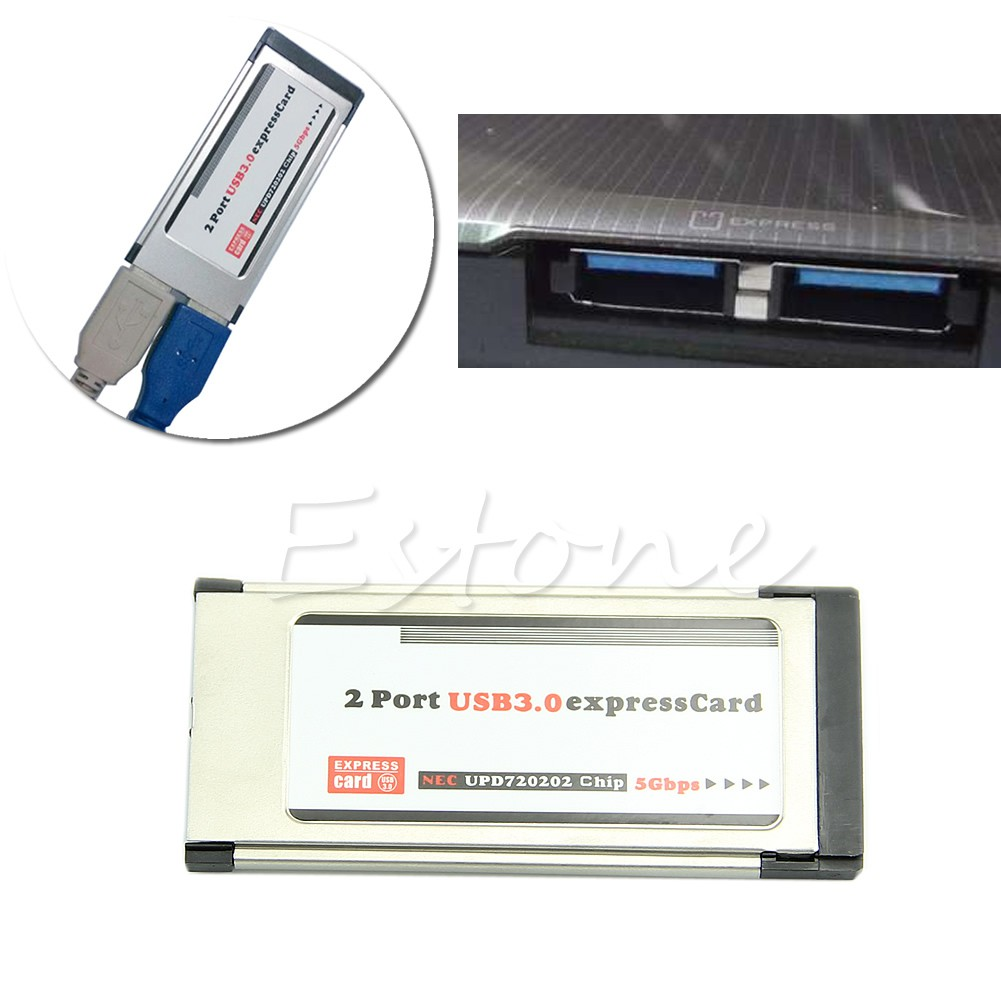 2 Port USB 3.0 Express Card ExpressCard 34mm//54mm Hidden Adapter For Laptop