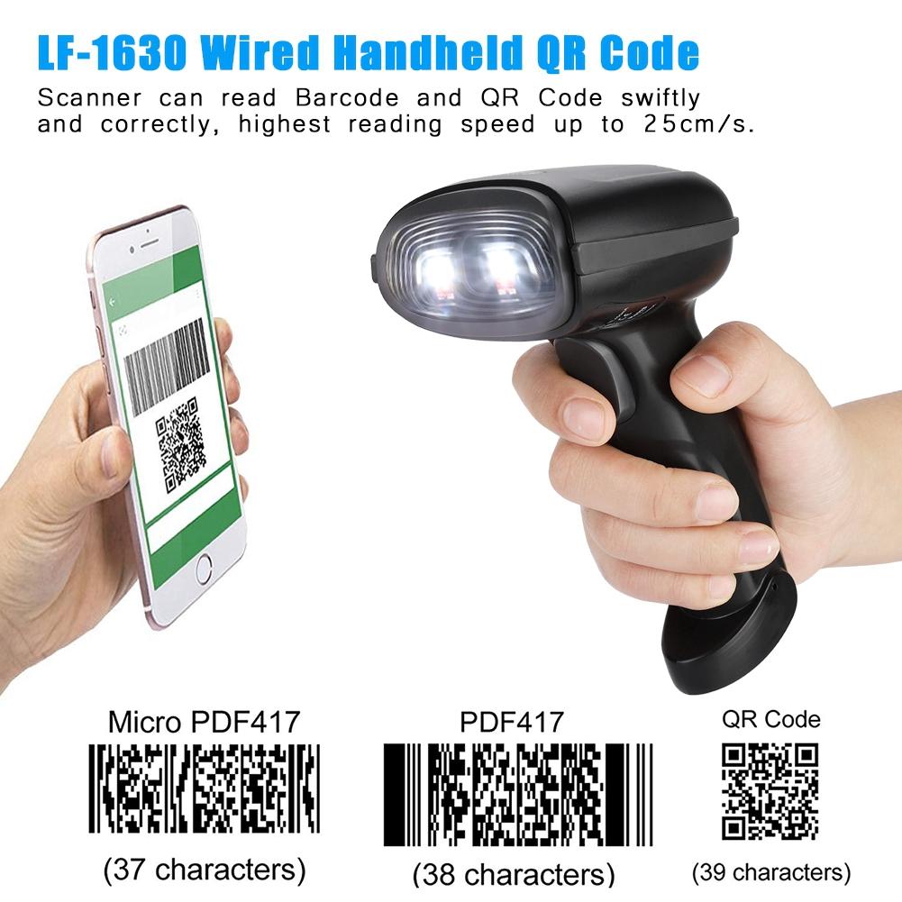 Reader Scanner QR Scanning Barcode Black Handheld 2D Code Wired Scanner  LF-1630