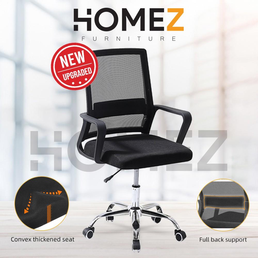 Homez Mesh Office Chair with Ergonomic Design & Chrome Leg - Black ...