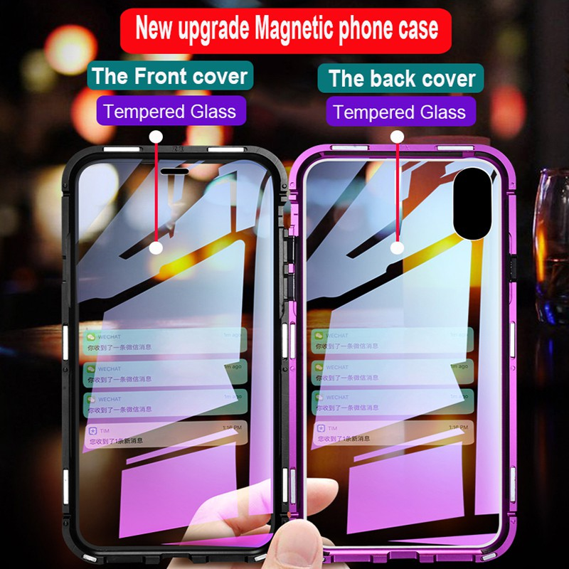 Case iPhone X XR XS Max 8 7 Front+Back Glass Magnetic Flip Case Protective  Cover