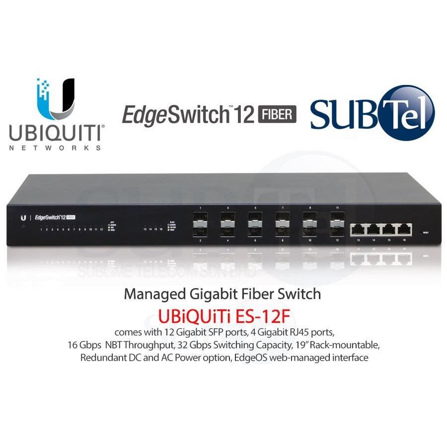 Ubiquiti ES-12F EdgeSwitch 12 Port Fiber Switch UBNT Singapore