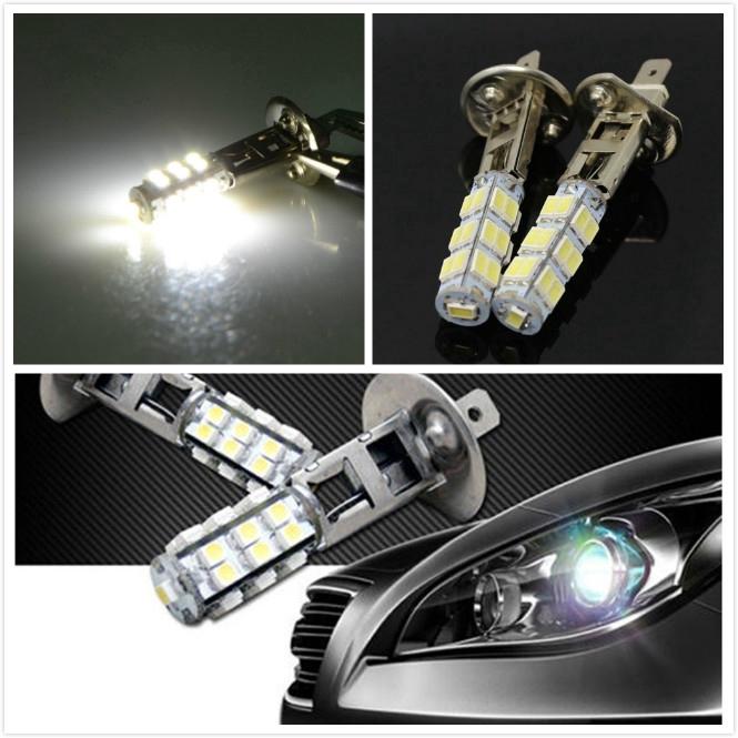 2pcs Car Auto H1 LED 25-SMD Hyper White 6000K Headlight High Beam Foglight Bulbs