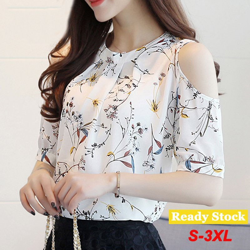 Womens Plus Size Floral Half Sleeve Off Shoulder Blouse Camis Tops Loose T-shirt