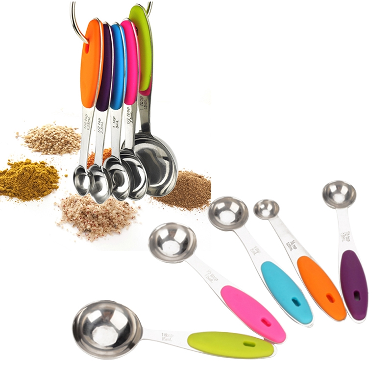 5pc Colorful Rainbow Assorted Measuring Cup Spoons Cooking Baking Kitchen Tool