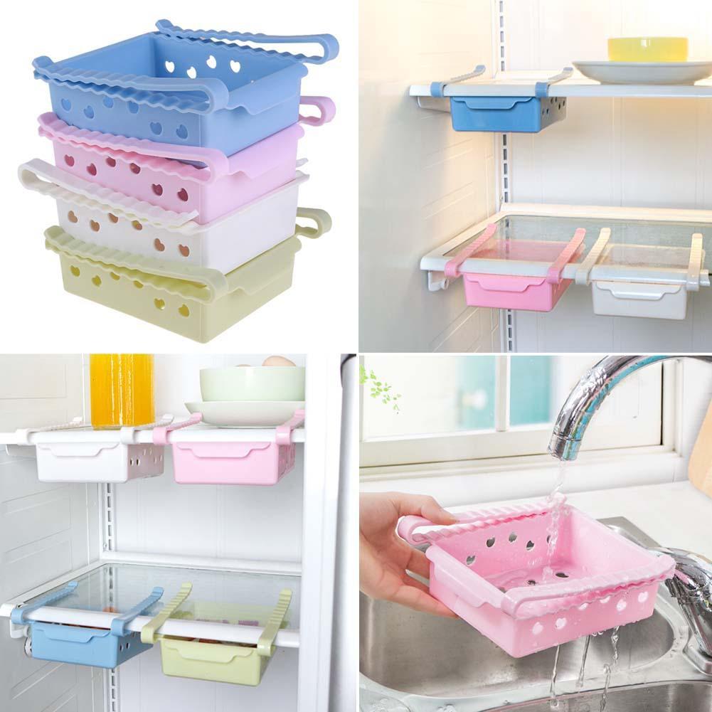 Freezer Refrigerator Space Saver Shelf Holder Storage Organizer Rack Kitchen ♪