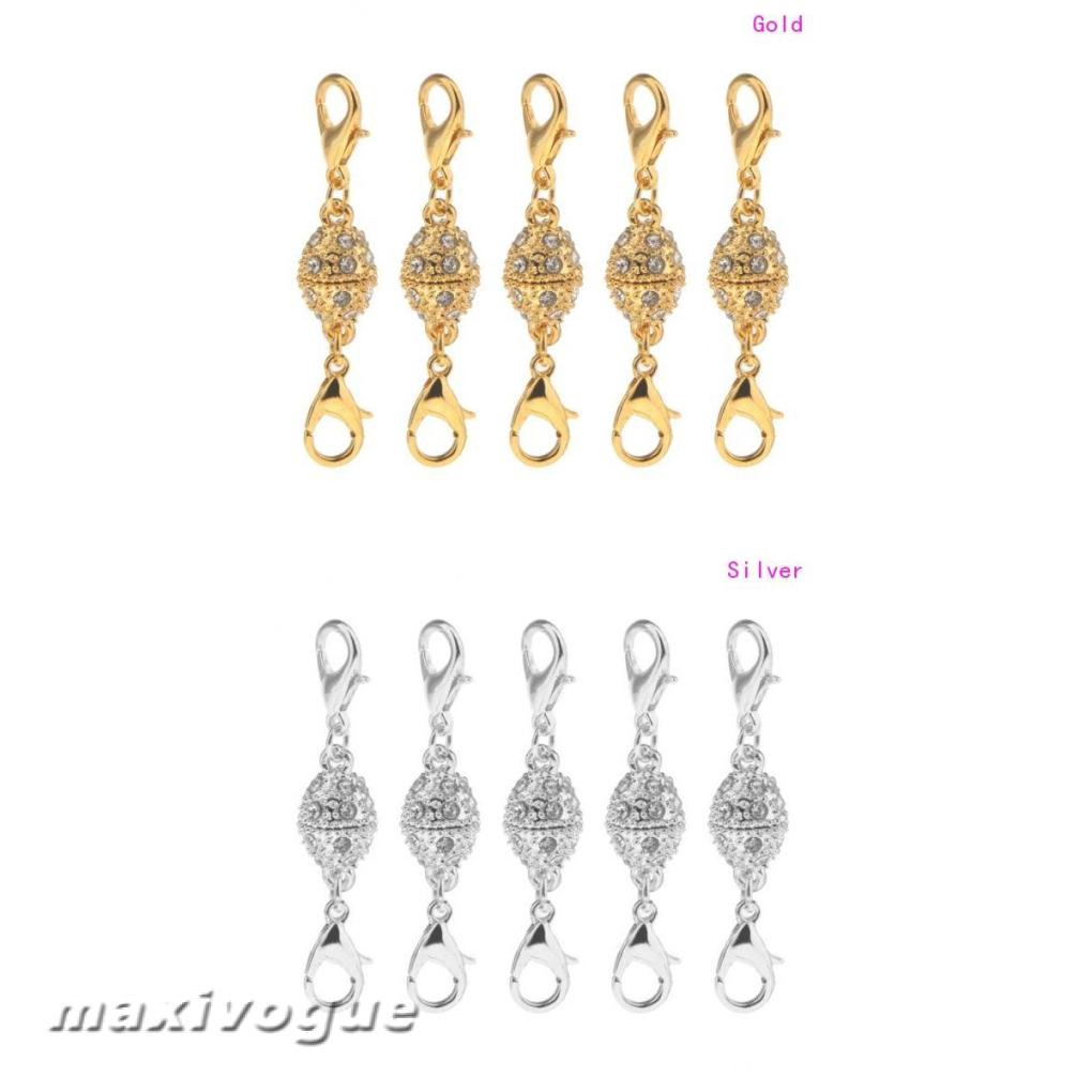 1//5PCS Magnetic Extender Lobster Clasps Hooks For Jewelry Making Ball Two Part