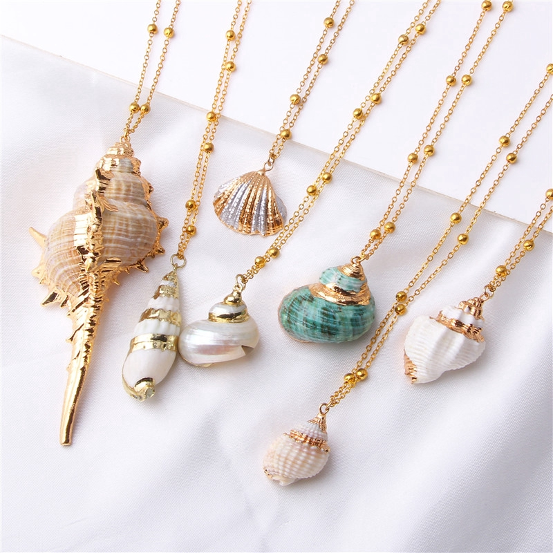 Boho Conch Shells Necklace Sea Beach Shell Pendant Necklace For