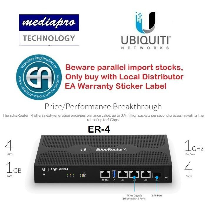 UbiQuiti ER-4 EdgeRouter 4 - 4-Port Gigabit Router with 1 SFP Port